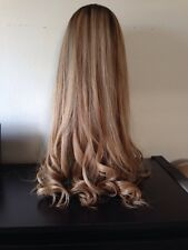 Barbie Blonde Dark Roots Highlights Highlighted Long Wig Human Hair Sheitel 27""