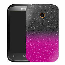 Pink Raindrop Transparent Case Cover For HT Desire C
