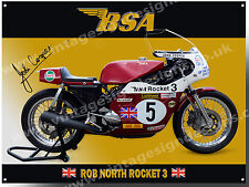 BSA ROCKET 3 METAL SIGN. BSA RACING MOTORCYCLES,JOHN COOPER MOTORCYCLE RACER.