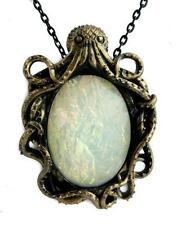 Steampunk Octopus w/ Pearl Stone Necklace Pirate Cthulhu HP Lovecraft Nautical