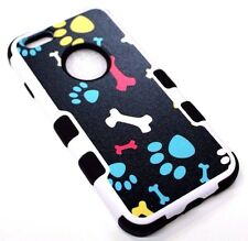 """for iPhone 6/6S (4.7"""") Dog Paw Prints Bones Black Hybrid Rubber Protective Case"""