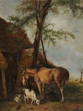 Belgian signed Thys - Horse and Goats before one Stable