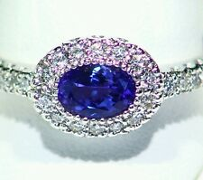 1.13CT 14K WHITE GOLD NATURAL TANZANITE CUT DIAMOND VINTAGE AAA ENGAGEMENT RING