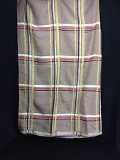 "Vintage Plaid Twin Full Double Blanket Bed Spread 100""x 67"" Tan Black Red Yellow"