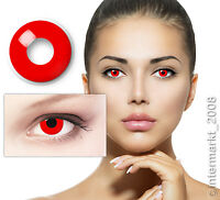 Crazy & Fun Kontaktlinsen Contact lenses - DEVIL RED - 60 ml + Behälter