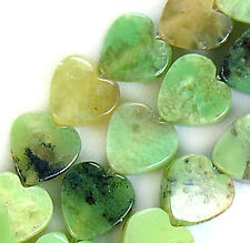 """6mm Natural Green Grass Turquoise Heart Beads 16"""""""
