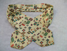 CRAVAT VINTAGE RETRO GENTS MENS 60S 50S MOD PALE CREAM YELLOW GREEN RED ABSTRACT