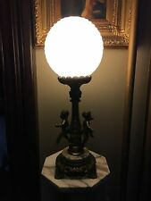 Victorian Cherub Lamp With Round Draped Glass Shade