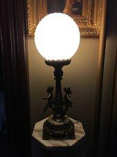 Victorian Cherub Lamp With Round Draped Glass Shade
