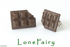 Novelty Milk Chocolate Bar Stud Earrings Silver Plated Brown Junk Food