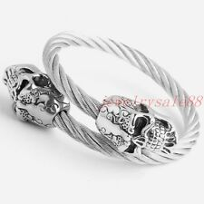 Simple Style Jewelry Stainless Steel Silver Mens Skull Cable Cuff Link Bracelet