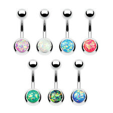 7pc Opal Glitter Set Steel Belly Button Rings Naval Navel Wholesale Body Jewelry