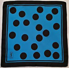 "VINTAGE YVES SAINT LAURENT POLKA DOT BLUE BLACK SILK 16"" SQUARE SMALL SCARF"