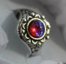 Petite Dragons Breath mexican Fire opal ring,Victorian setting, renaissance ring