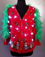 Ugly Christmas Sweater Lights Up Women's Medium Tacky Party Winner Hand Made