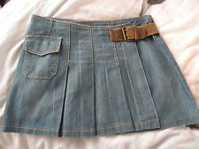 Kookai wrap over kilt denim skirt 38 UK 10