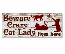 FUNNY CRAZY CAT LADY ACRYLIC SIGN Plaque house front wall door garden gift idea