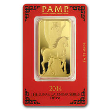 100 gram Pamp Suisse Year of the Horse Gold Bar - In Assay - SKU #80095