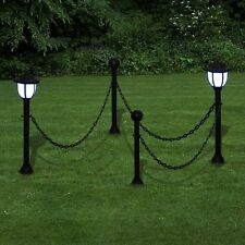 GARDEN PATIO YARD CHAIN FENCE WITH SOLAR LIGHTS TWO LED LAMPS TWO POLES