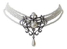 Trachtenschmuck Perlen Collier Kropfkette weiß im Perle und Strasskristall