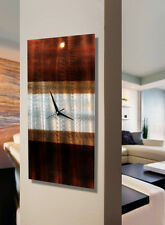 Brown Earthtone Hanging Wall Clock - Handmade Abstract Metal Wall Art Sculpture