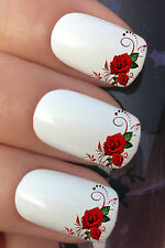 NAIL ART SET #641 x12 RED ROSE FLOWER FASHION TIP WATER TRANSFER DECALS STICKERS