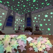 100Pcs Glow In The Dark Star Wall Stickers Bedroom Ceiling Decor Fluorescent 3cm
