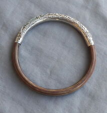 Fine Vintage Chinese Silver Bamboo Rattan Wood Bangle Bracelet