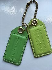 "COACH Fob Large 2.5"" Double Apple Green & Lime Green Charm Hangtag Keychain Bag"