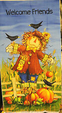 Welcome Friends Scare Crow Sunflower panel fabric quilt by Norchcott 24x44""
