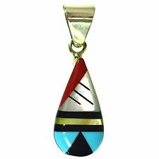 TURQUOISE CORAL ONYX & MOTHER OF PEARL MULTIGEM INLAY PENDANT STERLING SILVER