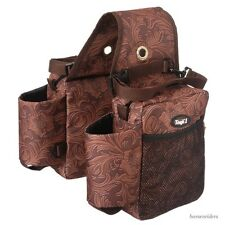 Western Saddle Bags - Gear Carrier -Bottle Holder - Brown Tooled Leather Print