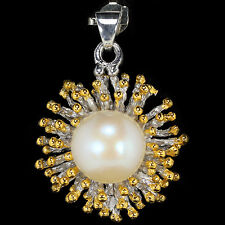 925 STERLING SILVER 14K GOLD PLATED 12 mm WHITE FRESHWATER PEARL PENDANT