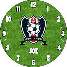 PERSONALISED CUSTOM NAMED FOOTBALL CLUB TEAM BADGE WALL CLOCK CHILDREN KIDS ROOM
