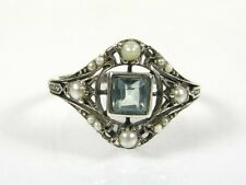 .20ct Natural Blue Topaz and Pearl Victorian Deco Sterling Filigree Ring 1011B