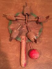 Antique Primitive Wooden Pecking Chicken Paddle Toy Game