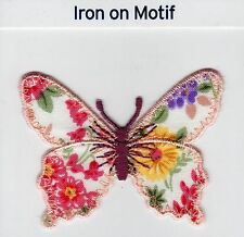 FLORAL BUTTERFLY PEACH EDGED IRON ON APPLIQUE MOTIF PATCH, BRAND NEW