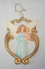 """5"""" Ceramic Angel Holding a Baby Christmas Tree Ornament Gold Pink & Blue"""
