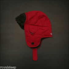 HOLLISTER by Abercrombie & Fitch Trapper Hat Red *BNWT* Faux Fur  Ushanka Cap