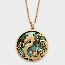"Mermaid Necklace 2"" Pendant Twisted Metal 22"" Chain BURNISHED PATINA Beach Sea"