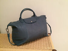 Longchamp Medium Le Pliage Cuir (Leather Neo) Green/Blue New with tags $565