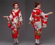 Retro Japanese Traditional Yukata Cosplay Belle Kimono Robe Geisha Dress Obi New