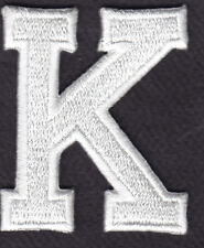 """LETTERS - WHITE BLOCK LETTER """"K"""" (1 7/8"""") - Iron On Embroidered Applique Patch"""