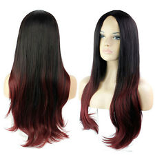 Women's Long Straight Full Wig Black Ombre Red Hair Heat Resistant Cosplay Party