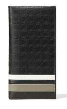 SALVATORE FERRAGAMO Men's Black Leather Gancini Banners Bifold Travel Wallet