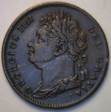 1825 Copper Farthing Great Britain UK English Coin XF
