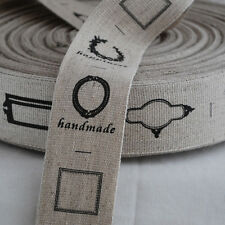 Cotton Linen Blend Fabric Ribbon Trim - Blank Sewing Label - Black Border