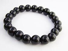 Men's 10mm BLACK GLASS  streachable bracelet