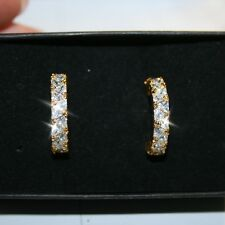 Trillion Cut Diamond Alternatives Semi Hoop Earrings 14k Yellow Gold over Base