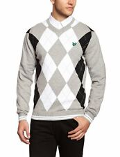 CLUB GREEN EAGLE MEN'S LONG SLEEVE V NECK ARGYLE SWEATER SIZE SMALL